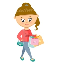 Girl Is Shoping Walks in Sweater and Jeans vector image vector image