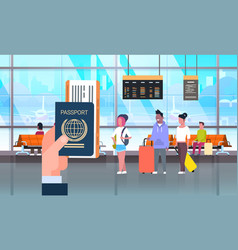 hand hold passport and ticket over people in vector image vector image