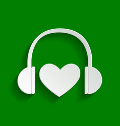 headphones with heart paper whitish icon vector image vector image