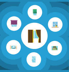 icon flat glass set of clean cloud curtain and vector image vector image