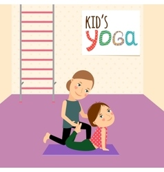 Kids yoga with instructor vector