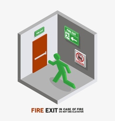 man sign run to fire exit isometric vector image