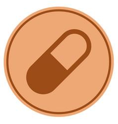 Medication granule bronze coin vector