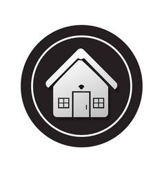 Monochrome circular button facade house icon vector