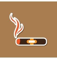 Paper sticker on stylish background cuba cigar vector