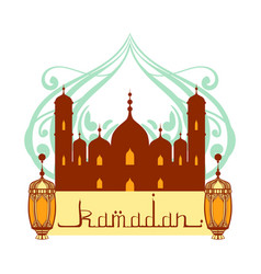 Ramadan greeting card mosque and arabic lamps vector