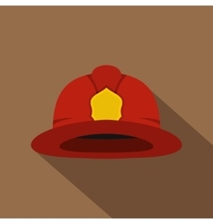 Red fireman helmet icon flat style vector