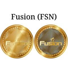 Set of physical golden coin fusion fsn vector