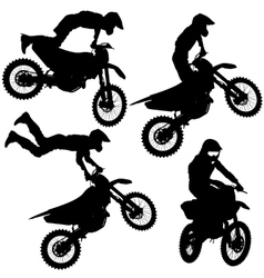 Set silhouettes Motocross rider on a motorcycle vector image vector image