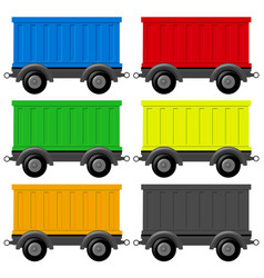six wagon carts in different colors vector image vector image