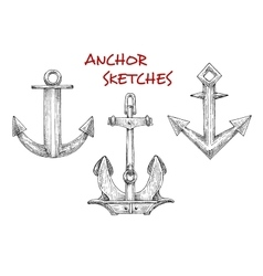 Sketches set of vintage boat anchors vector