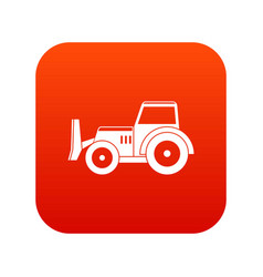 Skid steer loader icon digital red vector