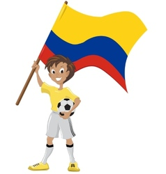 Soccer fan holds colombian flag vector