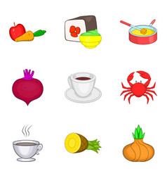 some food icons set cartoon style vector image
