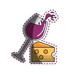 Sticker glass splashing wine with cheese icon vector