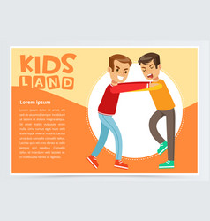two boys fighting each other demonstration of vector image vector image