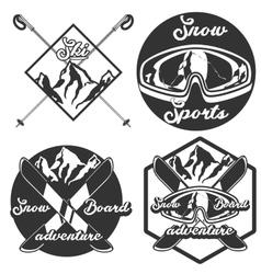 Vintage ski sport emblems vector