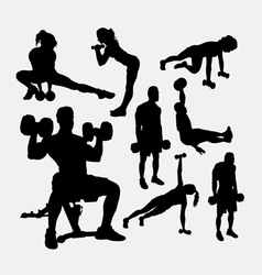Training exercise sport male and female silhouette vector