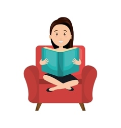 Avatar woman reading a book vector