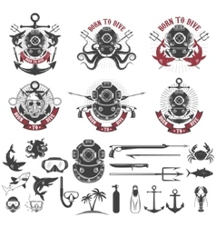 Born to dive Set of vintage diver helmets diver vector image