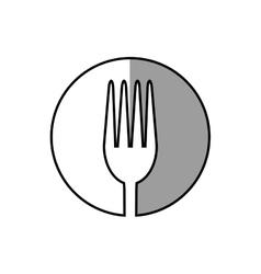 Fork utensil kitchen sticker shadow vector