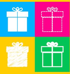 gift sign four styles of icon on four color vector image
