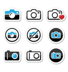 Camera analogue and digital icons set vector