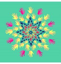 Human hands mandala vector