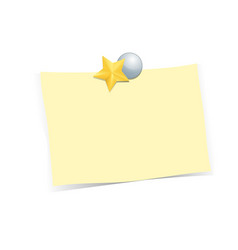 Golden star with note paper on white background vector