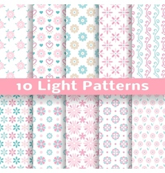 Light floral romantic seamless patterns tiling vector