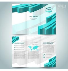 3d line brochure design template leaflet turquoise vector
