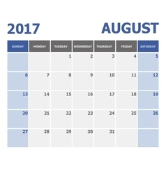2017 August calendar week starts on Sunday vector image