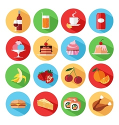 Set of flat food and drinks icons set vector