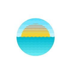 Sunrise at the sea logo vector