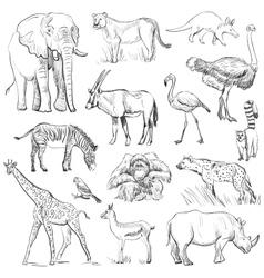 Hand drawn animal planet set vector image