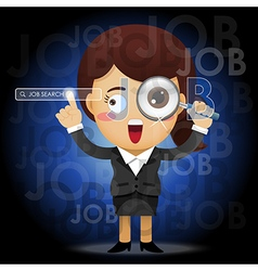 Woman holding magnifying glass searching for job vector