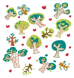 cartoon trees fancy vector image