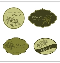 Set of stickers for olive production vector
