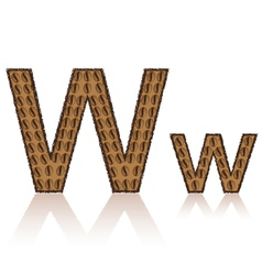 Letter w is made grains of coffee isolated on whit vector