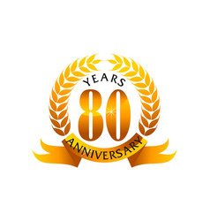 80 years ribbon anniversary vector image