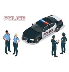 Police car - policeman - policewoman flat 3d vector