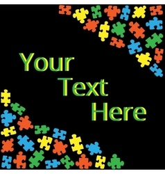Text box with puzzles 02 vector