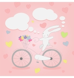Funny little white bunny on bicycle vector