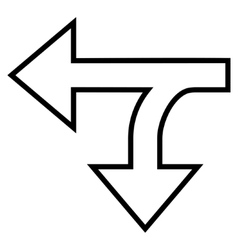 Split direction left down outline icon vector