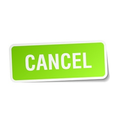 Cancel green square sticker on white background vector