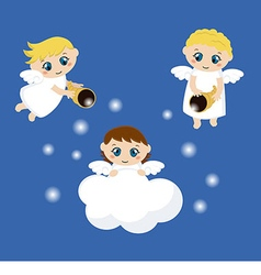 Cute angels with stars vector image