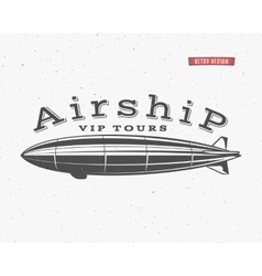 Vintage airship background retro dirigible vector
