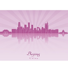 Beijing skyline in purple radiant orchid vector image