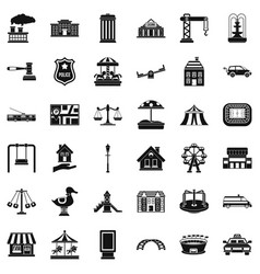 Big city icons set simple style vector