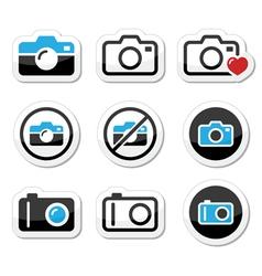 Camera analogue and digital icons set vector